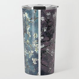 Vincent Van Gogh Almond Blossoms Panel Dark Pink Eggplant Teal Travel Mug