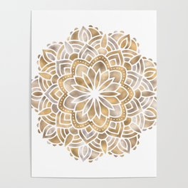 Mandala Multi Metallic in Gold Silver Bronze Copper Poster