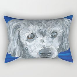 Beau the Poodle Pet Portrait Painting Rectangular Pillow