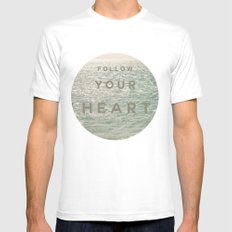 Follow you heart Mens Fitted Tee MEDIUM White