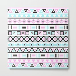 Aztec Influence Pattern Blue Black Pink White Metal Print