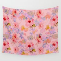girly Wall Tapestries featuring girly floral by clemm