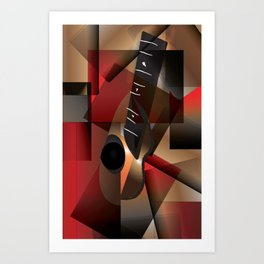 Man in red playing the guitar Art Print