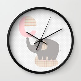 letter E - elephant - initial, personalized gift Wall Clock