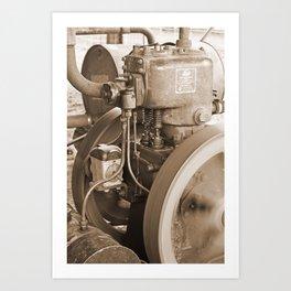 Steam Engine - Winchcombe Carson Ltd Brisbane. Sepia Art Print