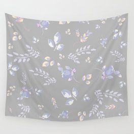 Spring colors watercolor leaves & tulips on light grey background Wall Tapestry