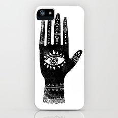 Hand with eye linocut black and white minimal boho third eye hamsa Slim Case iPhone (5, 5s)