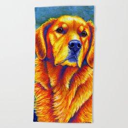 Colorful Golden Retriever Dog Portrait Beach Towel