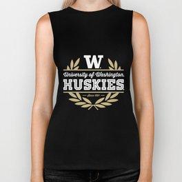 university of huskies since 1861 Huskies UW NCAA teacher T-Shirts Biker Tank