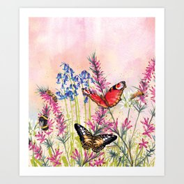 Wild meadow butterflies Art Print