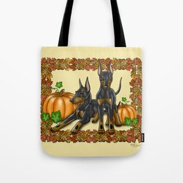 Manchester Terrier Autumn and Pumpkins Tote Bag