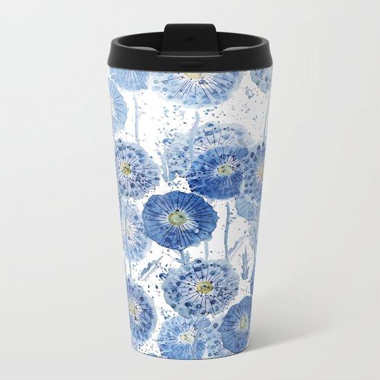 blue indigo dandelion pattern watercolor Metal Travel Mug