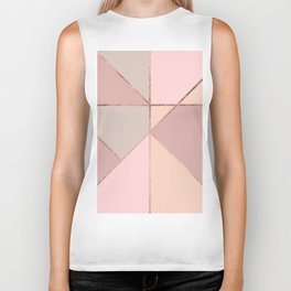 Modern rose gold peach blush pink color block Biker Tank