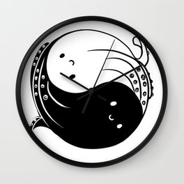 Ying yang octopi Wall Clock