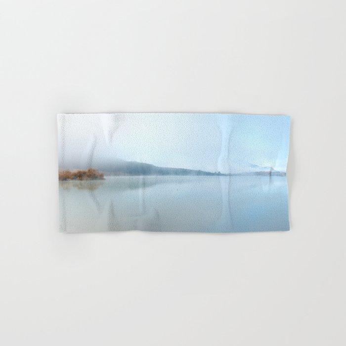 """Wild sunrise"". Foggy lake Hand & Bath Towel"