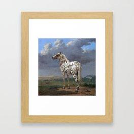 The horse blanc noir  Framed Art Print