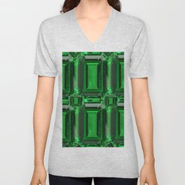 FACETED GREEN EMERALD MAY GEMSTONE ART Unisex V-Neck