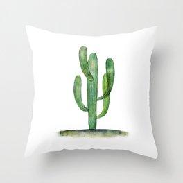 Watercolor Saguaro cactus Throw Pillow