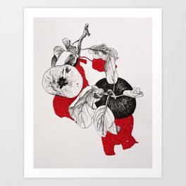 Apples with red shadows Art Print