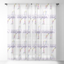 The Colors of Courage Cancer Awareness Ribbons Sheer Curtain