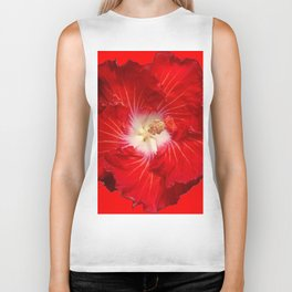 DECORATIVE RED & WHITE HIBISCUS FLOWER Biker Tank