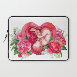 Watercolor fetus inside the womb Laptop Sleeve