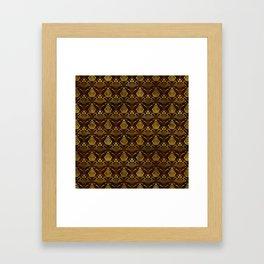 Hamsa Hand pattern -gold on brown glass Framed Art Print