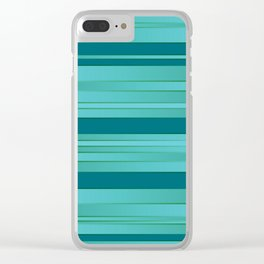 Teal and Turquoise Ombre Stripes Clear iPhone Case