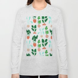Painted Postmodern Potted Plants in White Long Sleeve T-shirt