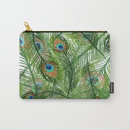 Peacock Feathers Green Carry-All Pouch