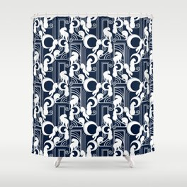 Deco Gatsby Panthers // navy and silver Shower Curtain
