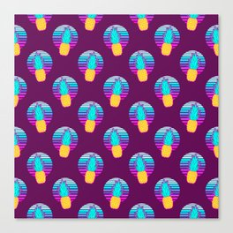 Vaporwave pineapples. Maroon background. Canvas Print