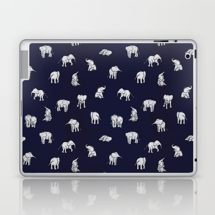 Indian Baby Elephants in Navy Laptop & iPad Skin