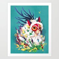 princess mononoke Art Prints featuring Princess Mononoke by Stephanie Kao