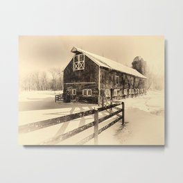 Old American Barn on Snow Covered Land Metal Print