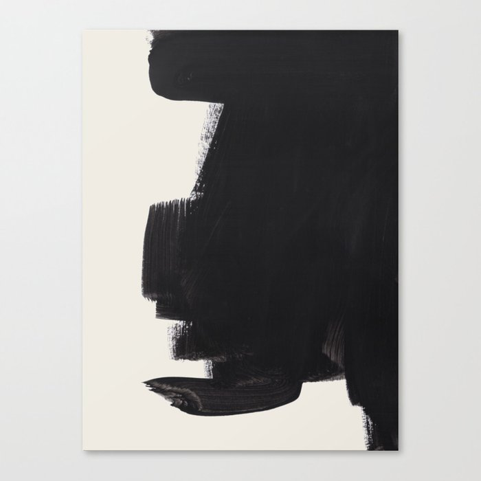Mid Century Modern Minimalist Abstract Art Brush Strokes Black & White Ink Art Colorfield Leinwanddruck