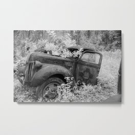 Rusting Pickup with Tree Grown in Cab Black and White Infrared Metal Print