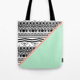 Block   Black White Aztec Pattern Mint Green Color Block Tote Bag