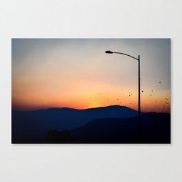 Street Light Sunset Canvas Print
