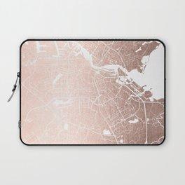 Amsterdam Rosegold on White Street Map Laptop Sleeve