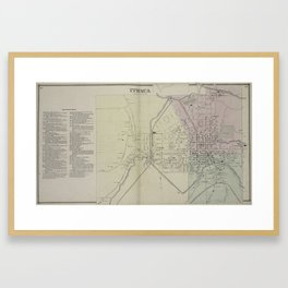 Vintage Map of Ithaca NY (1866) Framed Art Print