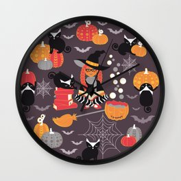 Enchanted Vintage Halloween Spell Wall Clock