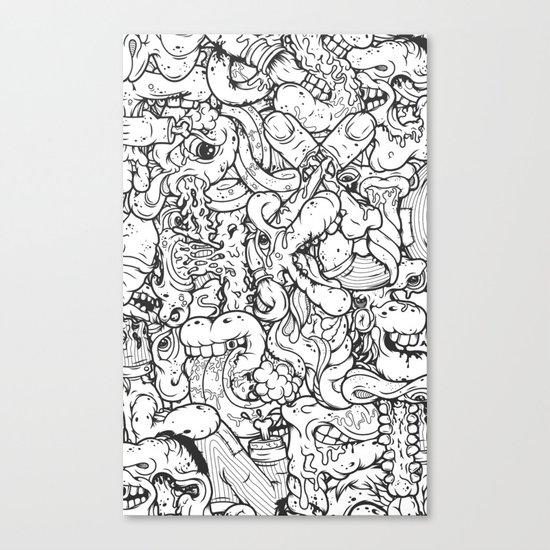Alphabetcha Collage b&w Canvas Print
