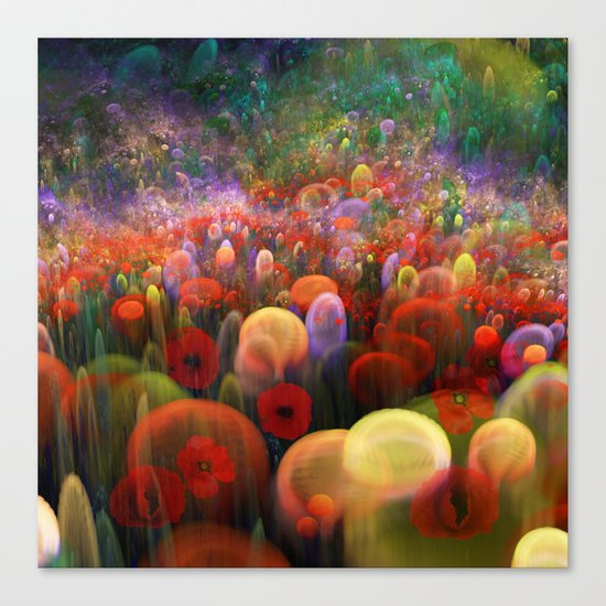 Dreamscape with poppies and orbs Canvas Print