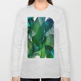 Palm leaf jungle Bali banana palm frond greens Long Sleeve T-shirt