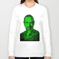 steve jobs Long Sleeve T-shirts featuring Steve Jobs green by Rebecca Bear