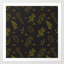Thin delicate lines silhouettes of different plants. Art Print