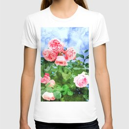 Sweet Rose Garden, Nature Botanical Watercolor Painting, Summer Floral Plants Meadow T-shirt