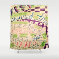 gravity falls Shower Curtains featuring Gravity Falls Quote by writingoverashes