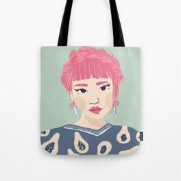 Pink Haired Asian Girl Portrait - Papaya Pattern - Braid Crown - Winged Eyeliner Tote Bag